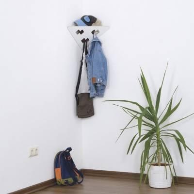 Garderobe | Garderobendreieck mit 3 Garderobenhaken | Schwarz & Weiß