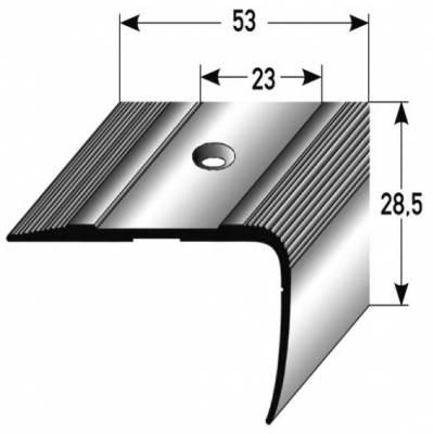 "Treppenkante ""Acate"" / Winkelprofil /Kombiwinkel 28,5 mm x 53 mm Aluminium eloxiert"