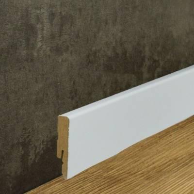 Moderne Sockelleiste MDF Folie weiß (12 x 58 mm)
