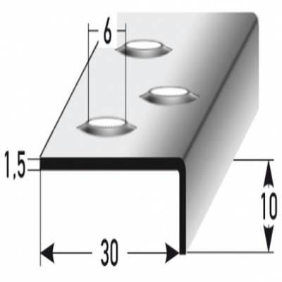 """Treppenkante """"Nola"""" / Winkelprofil 10 x 30 mm Edelstahl, Rutschhemmend R12 DIN 51130, Prägelochung"""