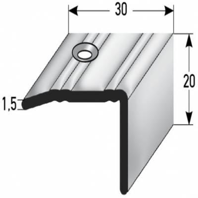 "Treppenkantee ""Paludi"" / Winkelprofil 20 mm x 30 mm Edelstahl, Rutschhemmend R10 DIN 51130,"