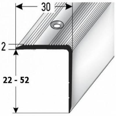 """Treppenkante / Treppenprofil """"Genua"""", 30 mm Breite, Höhe 22 mm - 52 mm, Aluminium"""