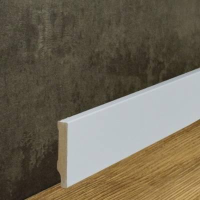 Klassische Sockelleiste MDF foliert weiß (10 x 58 mm) 721.1058