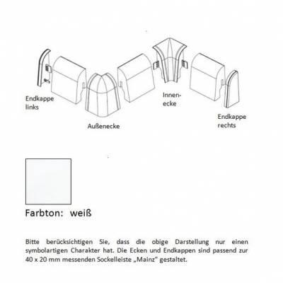 Endkappen und Ecken für MDF-Sockelleisten - weiß