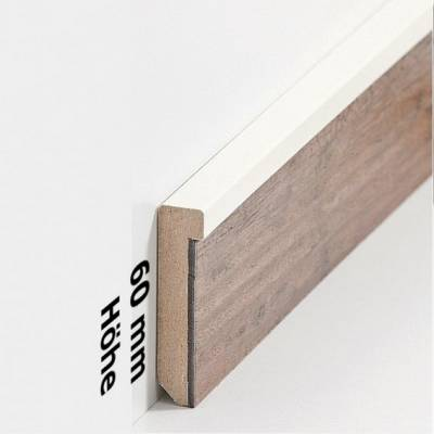 """Design Fußleiste für Vinylboden """"Frankfurt"""" - cremefarbend - 6 mm Höhe (MDF foliert - 725.5127) (Default)"""