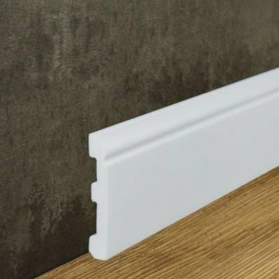 Fußleisten (NMC FLOORSTYL® - FL1) aus schlagfestem, wasserbeständigem Kunststoff weiß (12 x 80 mm)