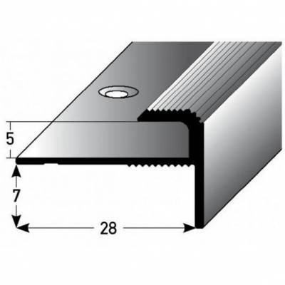 """Einschubprofil """"Stannington"""" mit Nase für Designbeläge, Einfasshöhe 5 mm, Aluminium eloxiert, gebohrt (Default)"""
