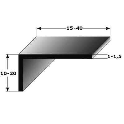 """Winkelprofil """"Alcoba"""" als Montageprofil / Bauprofil, ungleichschenklig, Silber eloxiert, aus Aluminium-1-1 mm-15 mm (Default)"""